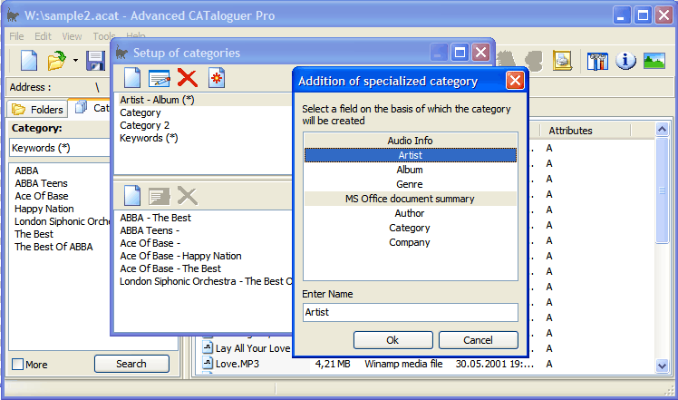 Setup of categories